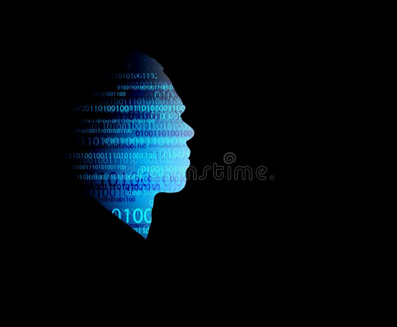 Artificial intelligence technology background with concept visualization of a man stock illustration