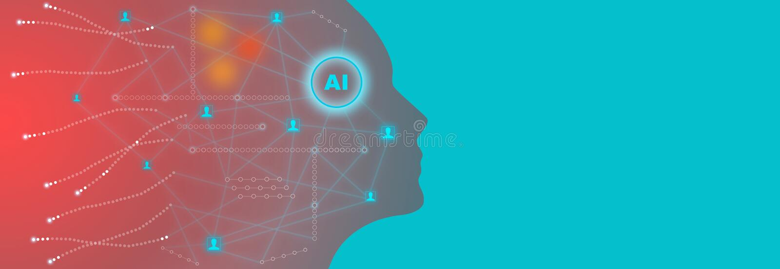 Artificial intelligence technology concept with background illustration of human face made by tiny glowing neural connections stock illustration