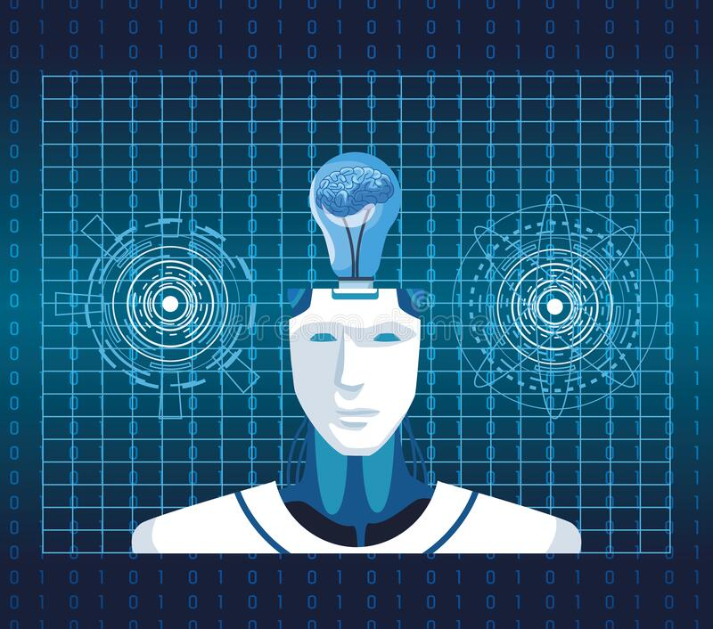 Artificial intelligence technology cyborg with brain in bulb vr scene background royalty free illustration