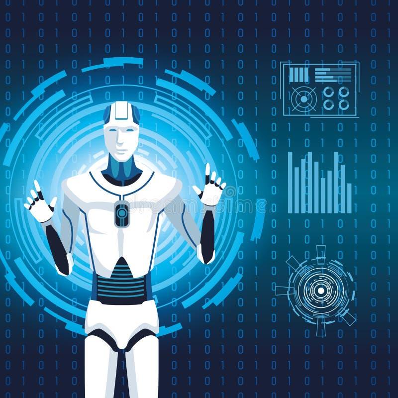 Artificial intelligence technology cyborg code binary future stock illustration