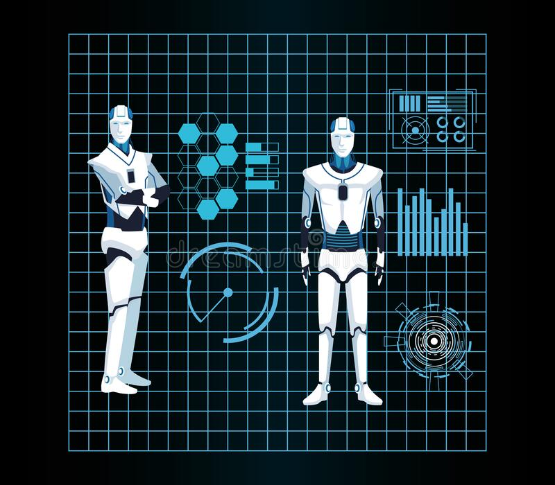 Artificial intelligence technology cyborg machines functions futuristic vector illustration