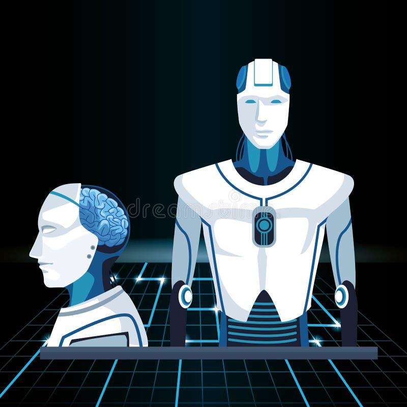 Artificial intelligence technology cyborg machines human brain assembly royalty free illustration