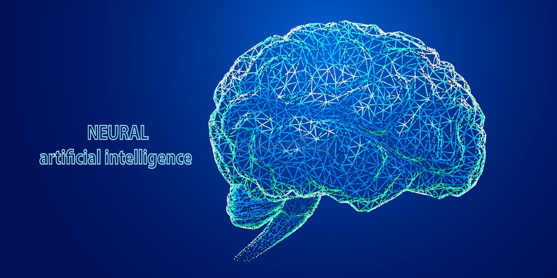 Artificial intelligence. Technology 3d polygonal design of brain. Vector illustration stock photo