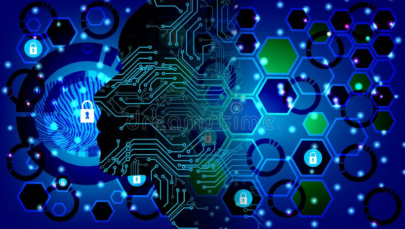 Artificial intelligence. Technology gear system web background. Virtual concept. Abstract Artificial intelligence. Technology web background. Virtual concept stock illustration