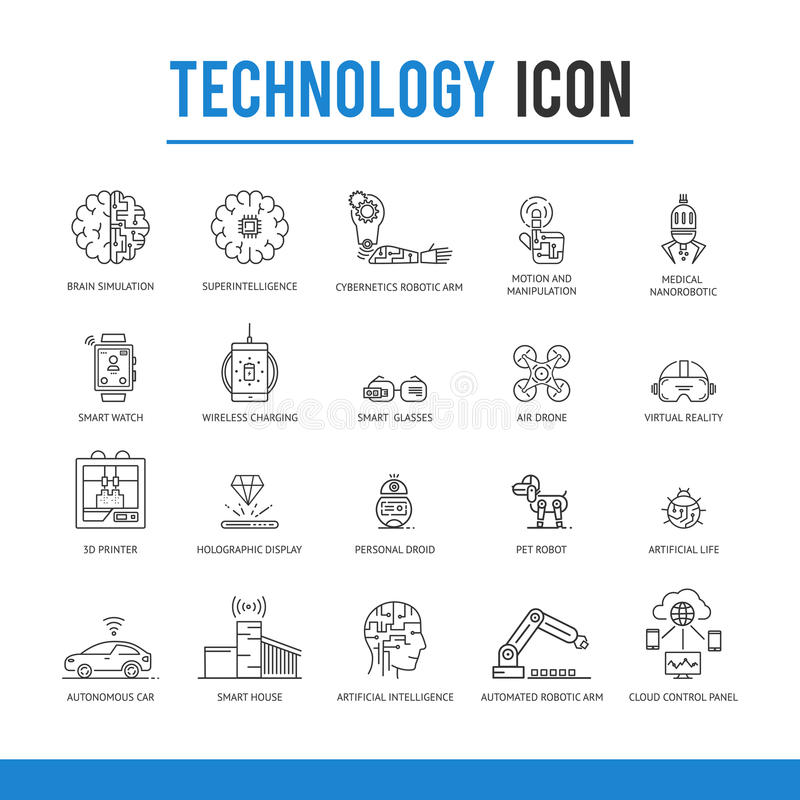 Artificial intelligence technology icon pack. royalty free illustration