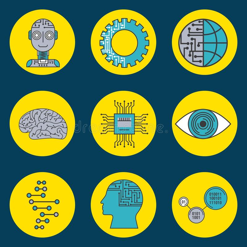 Artificial intelligence technology innovation cyber icons vector illustration