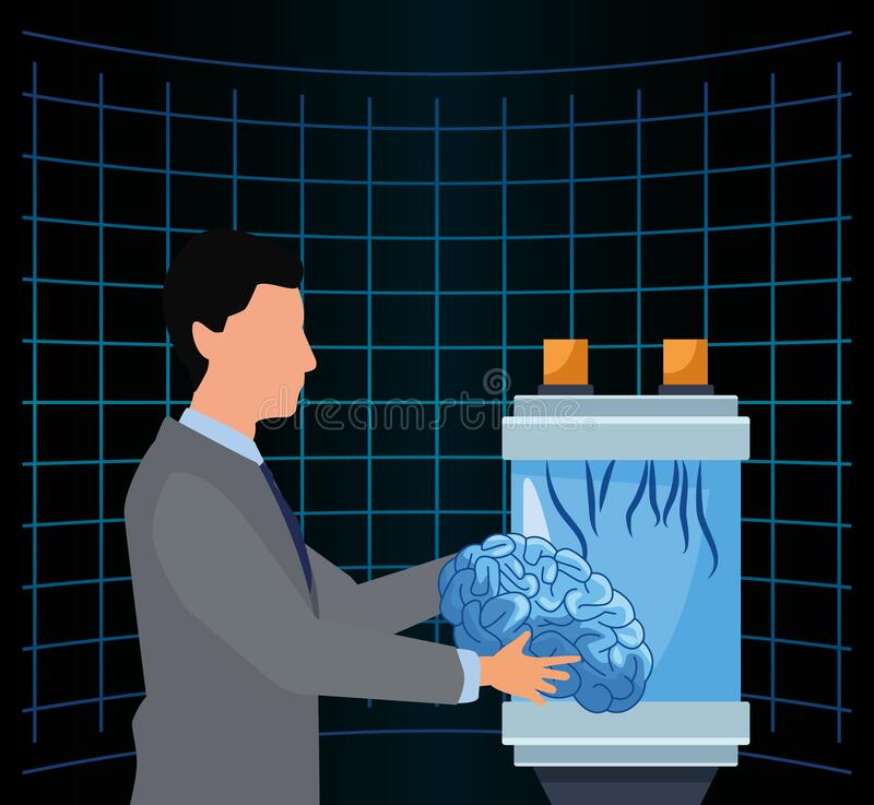 Artificial intelligence technology man holding human brain science futuristic stock illustration