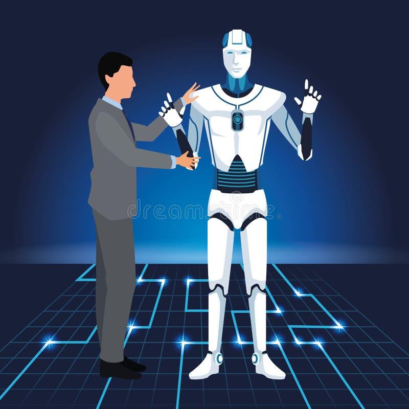 Artificial intelligence technology man programing cyborg stock illustration