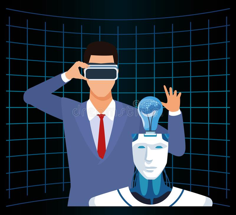 Artificial intelligence technology man with vr glasses and cyborg with human brain stock illustration