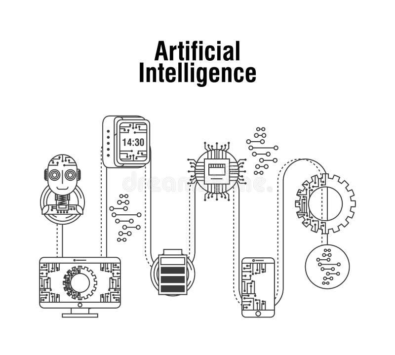 Artificial intelligence technology robot mobile gear battery vector illustration