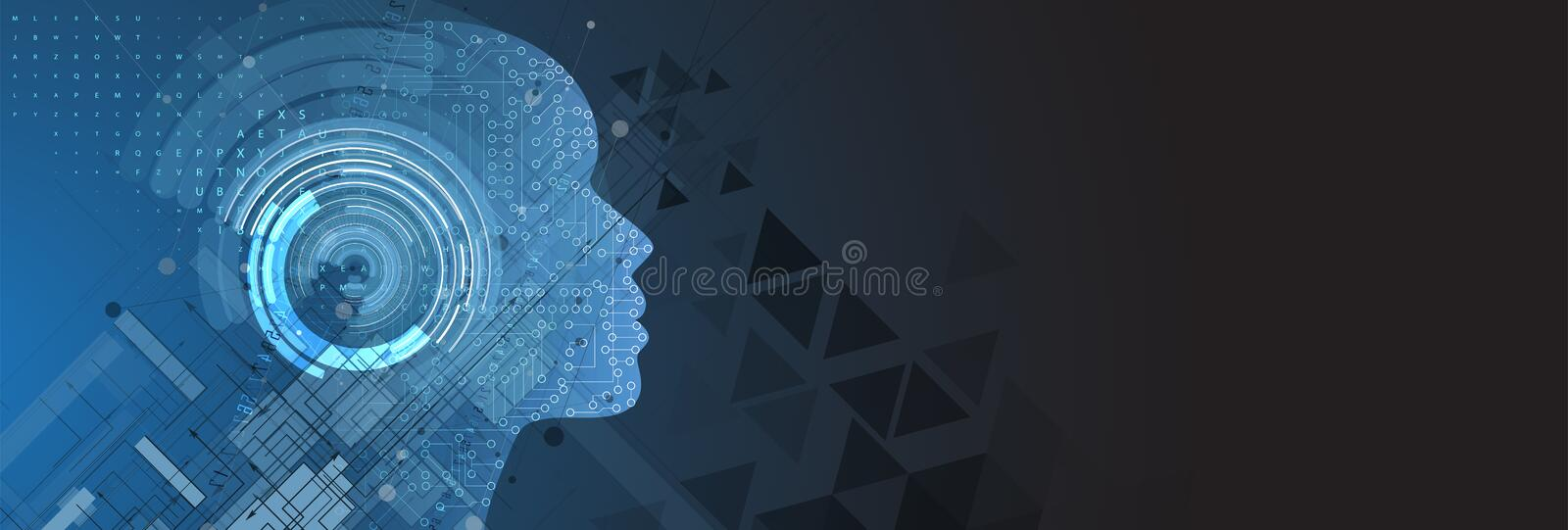 Artificial intelligence. Technology web background. Virtual concept stock illustration