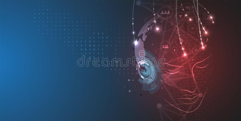 Artificial intelligence. Technology web background. Virtual concept. Abstract Artificial intelligence. Technology web background. Virtual concept stock illustration