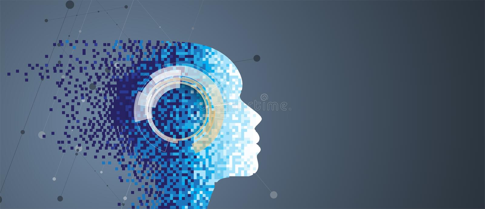 Artificial intelligence. Technology web background. Virtual conc stock illustration