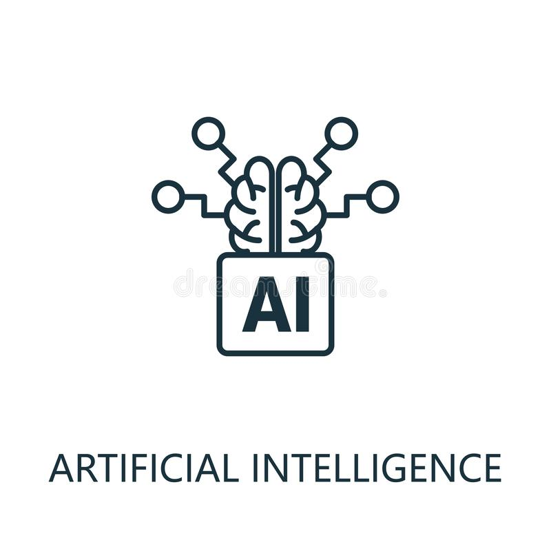 Artificial Intelligence thin line icon. Creative simple design from artificial intelligence icons collection. Outline stock illustration