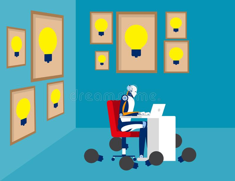 Artifical intelligence thinking idea, Concept business vector illustration, Surrounded, Large framed, Successful. Artificial intelligence thinking idea, Concept stock illustration