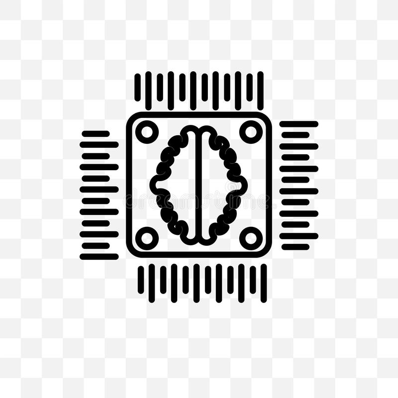 Artificial intelligence vector linear icon isolated on transparent background, Artificial intelligence transparency concept can be vector illustration