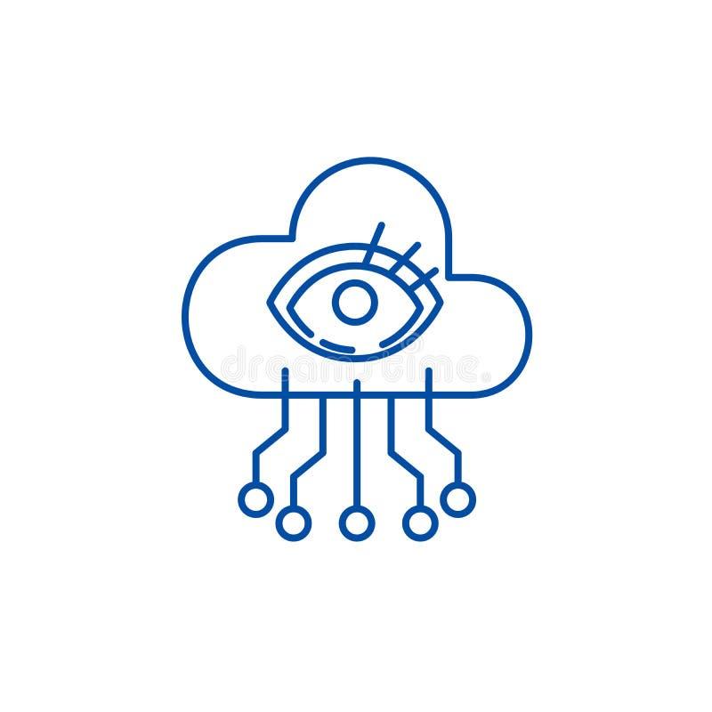 Artificial intelligence visualization line icon concept. Artificial intelligence visualization flat vector symbol, sign vector illustration