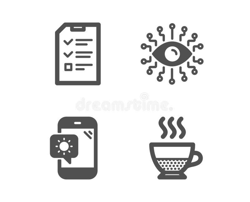Artificial intelligence, Weather phone and Interview icons. Doppio sign. Vector. Set of Artificial intelligence, Weather phone and Interview icons. Doppio sign vector illustration