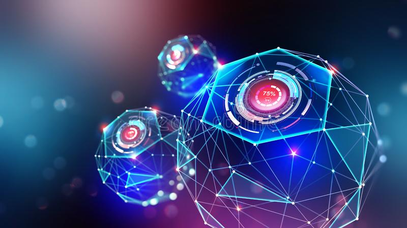 Artificial intelligence and wireless technology. Global digital network. Bright neon light. 3d illustration of polygonal objects with elements of HUD royalty free illustration