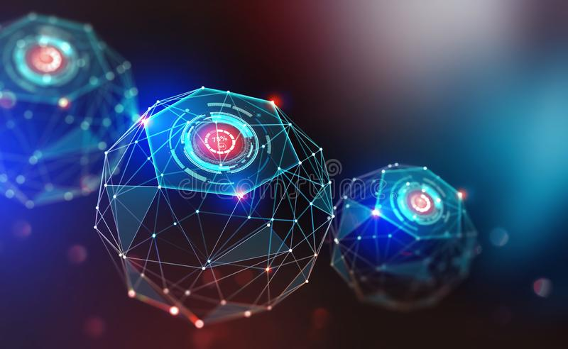 Artificial intelligence and wireless technology. Global digital network. Internet data security. 3d illustration of polygonal objects with elements of HUD vector illustration