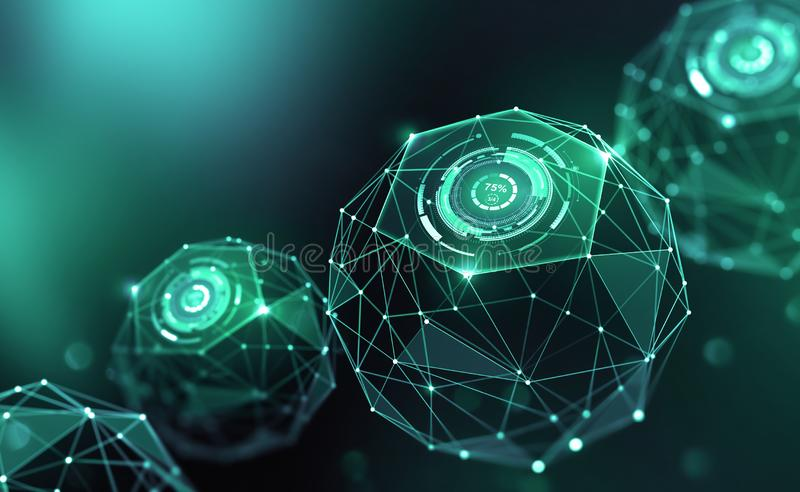 Artificial intelligence and wireless technology. Global digital network. Internet data security. 3d illustration of polygonal objects with elements of HUD royalty free illustration