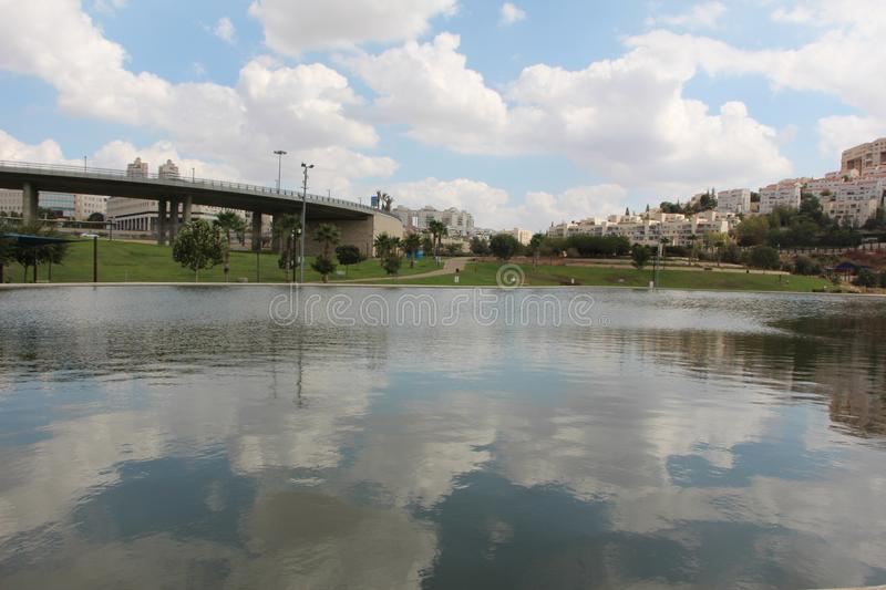 Artificial lake of Modiin, Israel. Artificial lake Aneba in city of Modiin stock images
