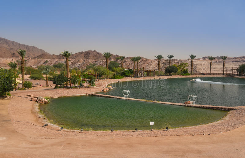 Artificial lake in Timna park, Negev desert, Israel royalty free stock photography