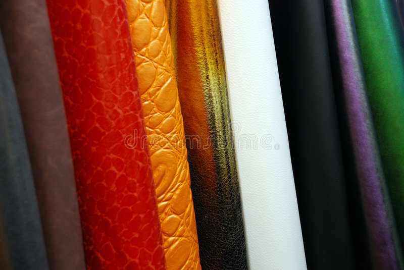 Artificial leather. The artificial leather produced in Italy is similar to real leather. It is used to produce sofas, handbags, shoes and fashion accessories royalty free stock images