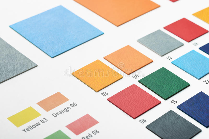 Artificial leather color swatches. Close up of artificial leather color swatches stock image
