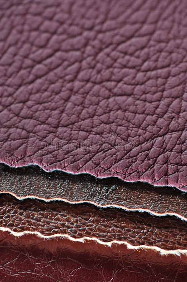 Artificial Leather Swatches. Four artificial leather swatches close up royalty free stock photography