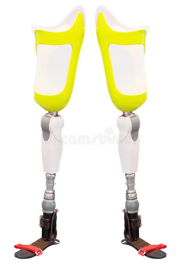 Artificial limb. Under the white background stock photo