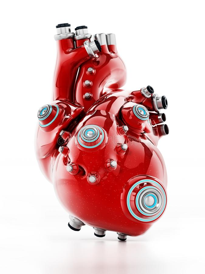 Artificial mechanic red heart isolated on white. 3D illustration vector illustration