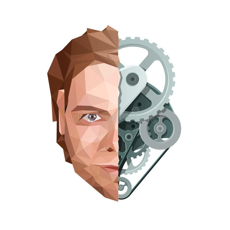 Artificial Mind Concept. Face and Gears vector illustration