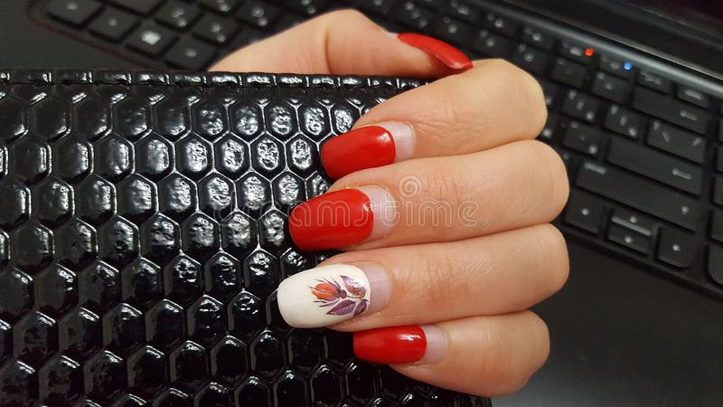 Artificial nails need to be adjusted. Manicure, the nails, red nail Polish. royalty free stock images