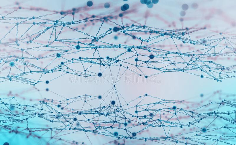 Artificial neural networks. Electrical impulses in the network royalty free stock photos