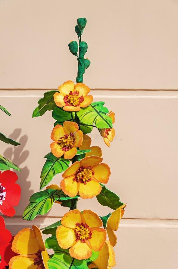 Artificial plastic flowers stock photo