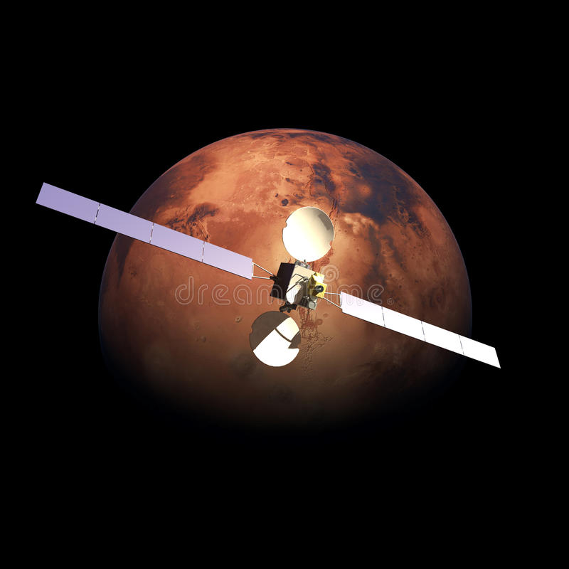 Artificial Probe orbiting above Planet Mars royalty free illustration