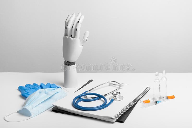 Artificial prosthesis hand at doctor royalty free stock images