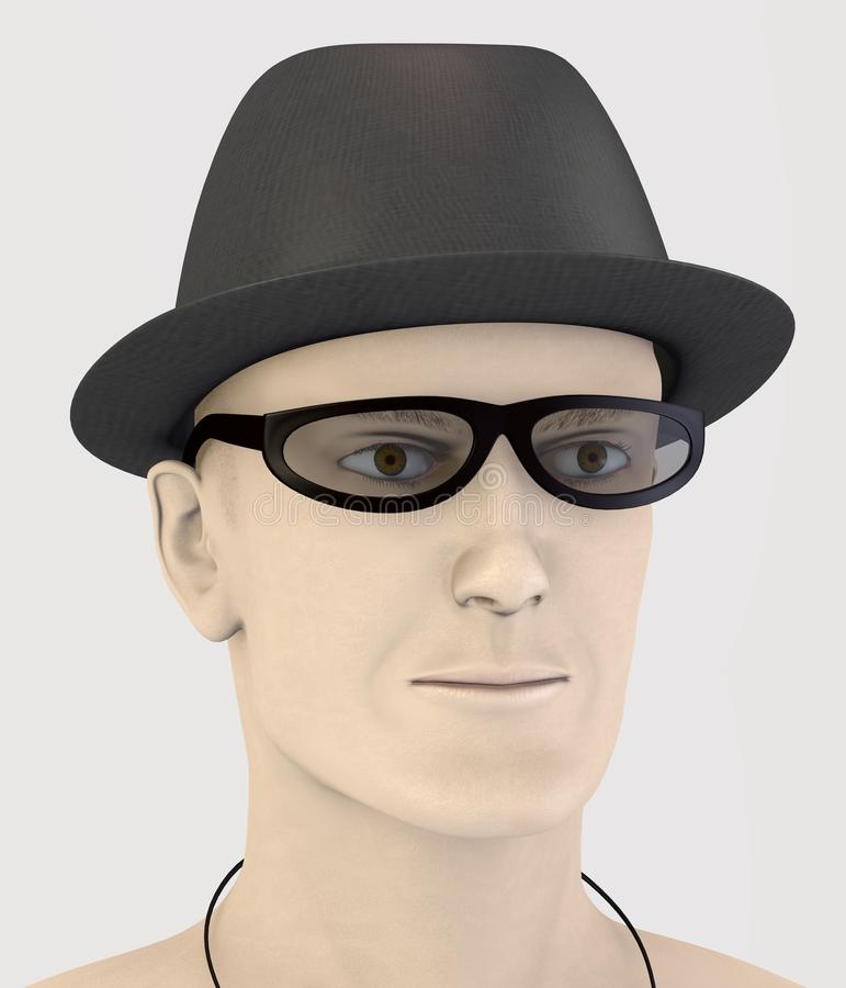 Artificial rendered 3d character - hat and glasses. Peter - artificial rendered 3d character - hat and glasses royalty free illustration