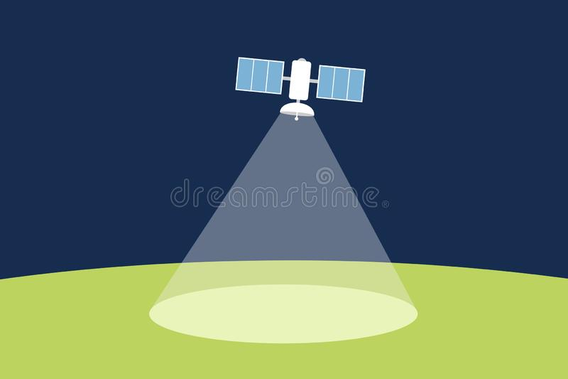 Artificial satellite in the space and cosmos is emitting the signal to the ground royalty free illustration