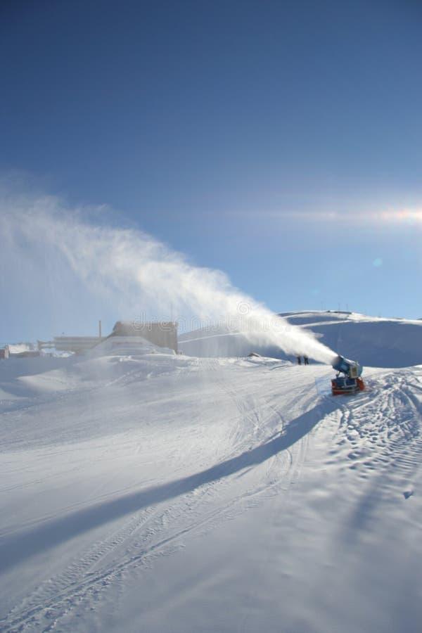 Artificial snow machine stock photo image of resort