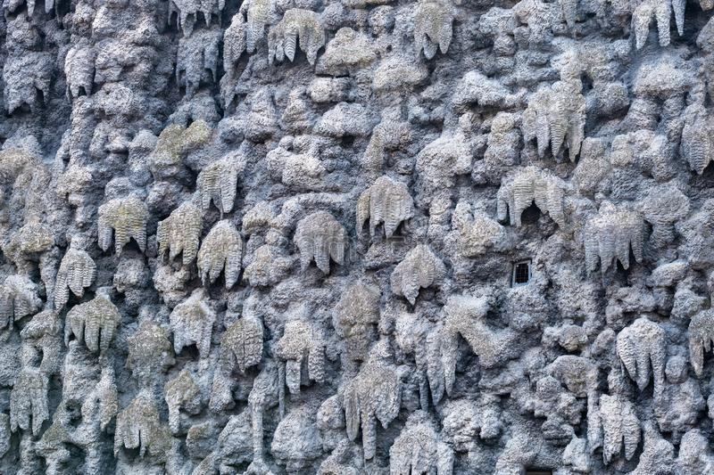 The artificial stalactite wall made of lime stucco in early Baroque Wallenstein Garden, built with the Wallenstein Palace stock photos