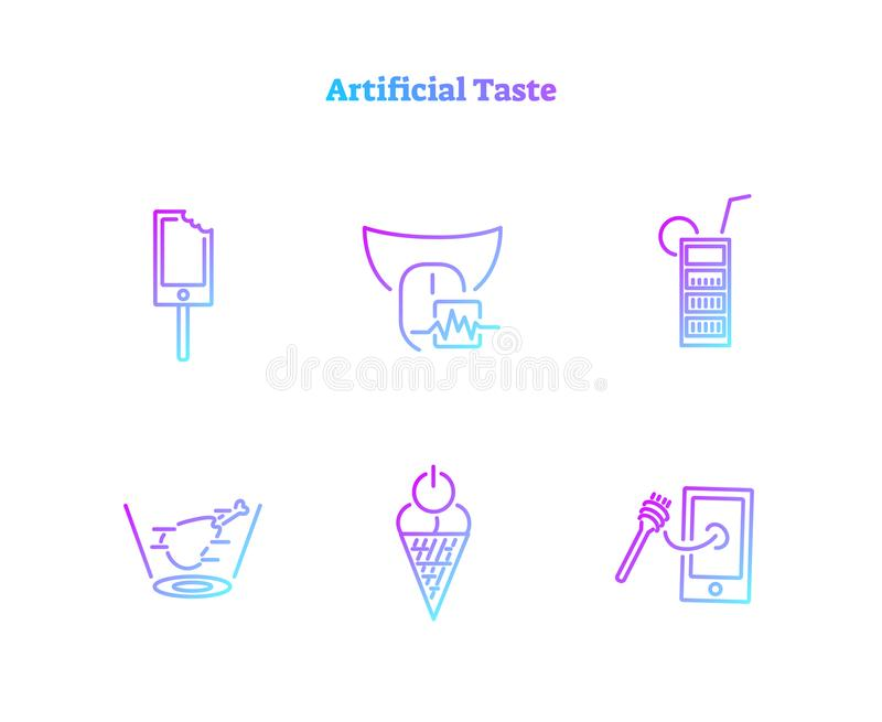 Artificial taste concept icons collection. Virtually generated digital food biochemical technology symbol set. Artificial taste concept icons collection stock illustration