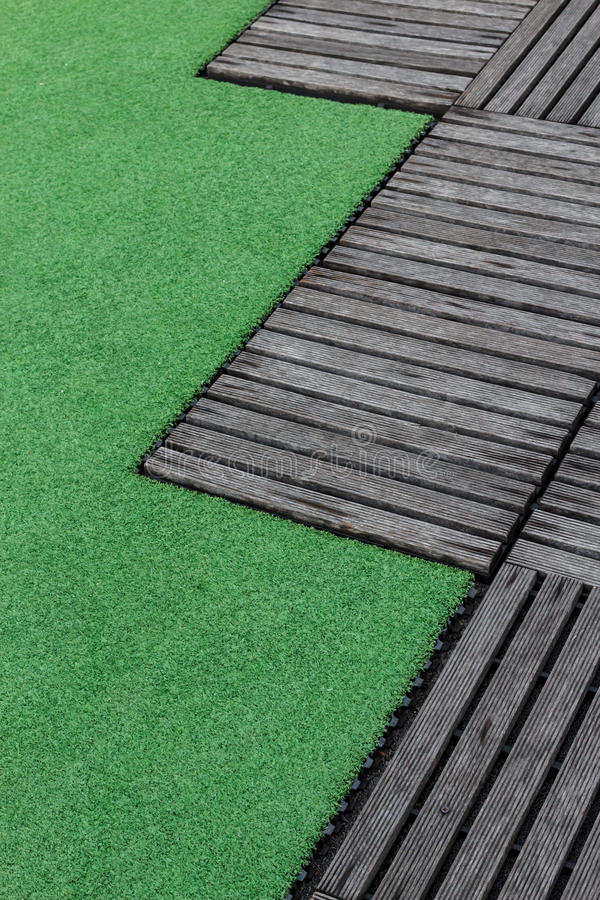 Free Artificial Turf And Old Wood Stock Photos - 50583283