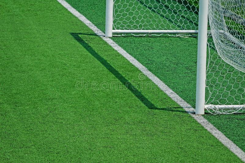 Artificial turf of Soccer football field stock image