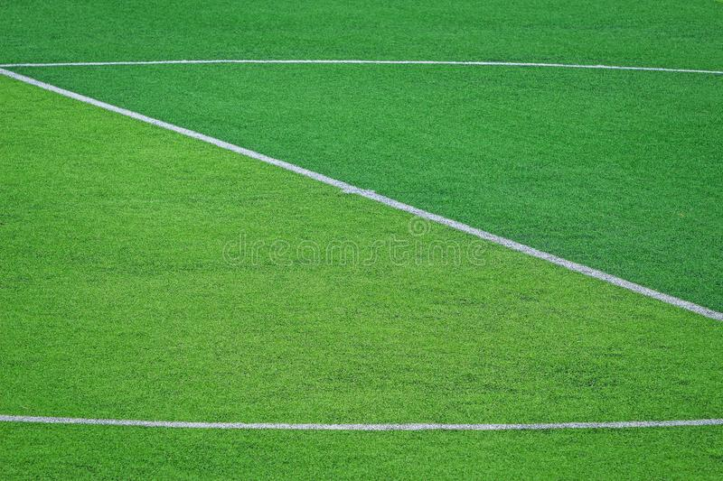 Artificial turf of Soccer football field stock images