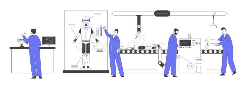 Artificiella tekniker för intelligensteknik som utformar och programmerar robotar Robotics Hardware and Software Engineering royaltyfri illustrationer