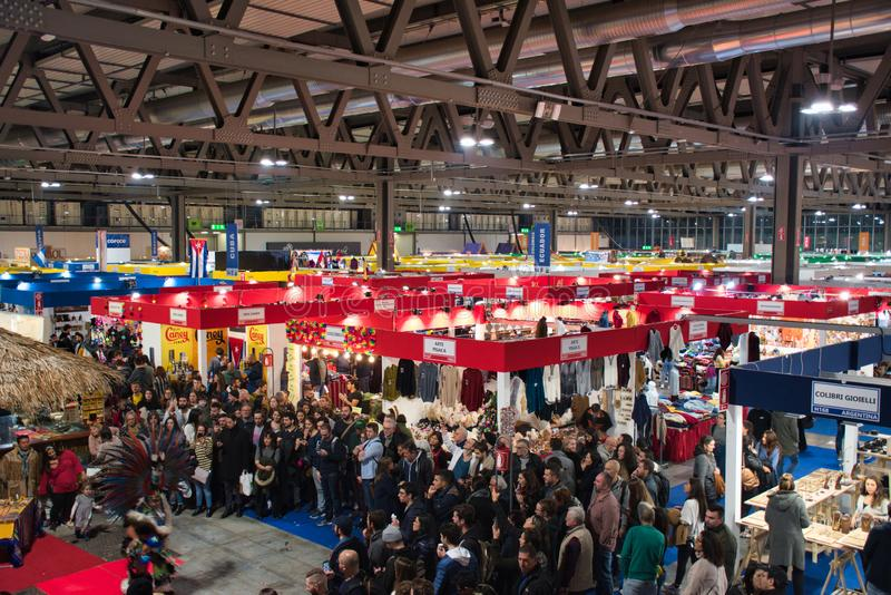 Artigiano in Fiera, a unique fair to buy, see, touch hand-crafted creations, try the best international cuisine from all over the stock photo
