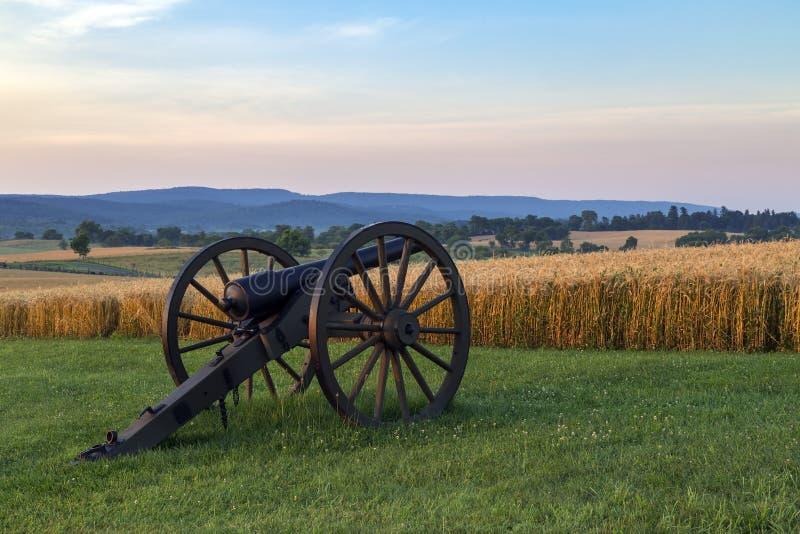 Artiglieria al campo di battaglia del cittadino di Antietam immagine stock