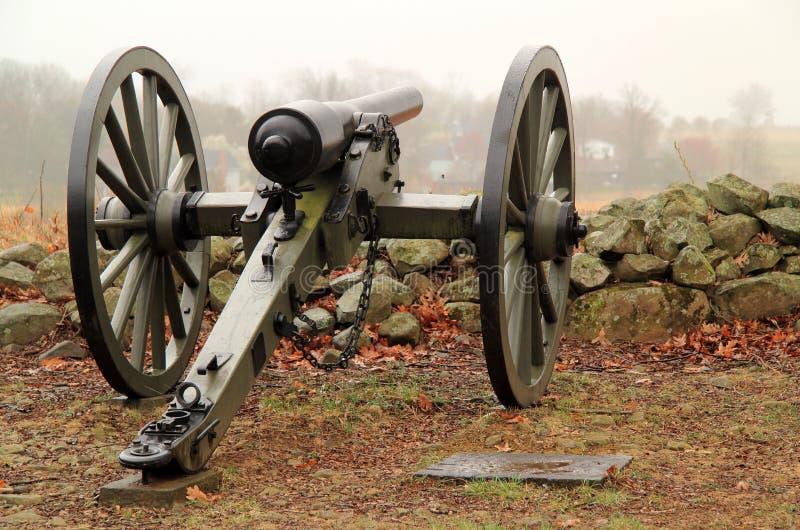 Artiglieria sul seminario Ridge nel parco militare nazionale di Gettysburg fotografia stock libera da diritti